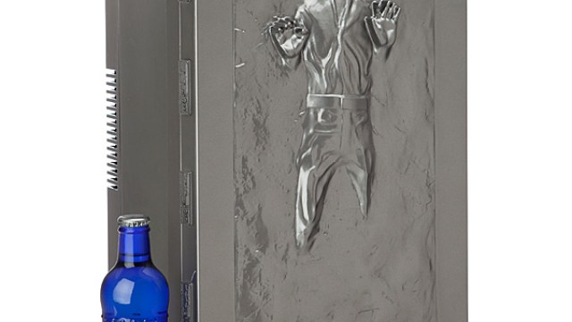 Han solo in carbonite business card case a star wars han solo frozen in carbonite fridge that can hold up to 18 cans colourmoves