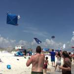 Blue Angels Doing a Low Fly-By Over Pensacola Beach Causes Tents and Umbrellas to Fly Into the Air