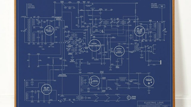 Alternative love blueprint a fascinating circuit map that connects electric love blueprint an art print that maps out the history and evolution of electronic malvernweather Image collections
