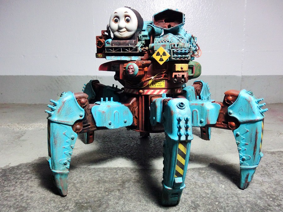 New Sculptor Creates a Laser Equipped Post Apocalyptic Thomas the Tank Engine Hexapod Robot
