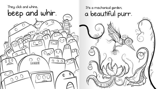 404 not found a weird kid friendly coloring book about a missing robot by the - Weird Coloring Books