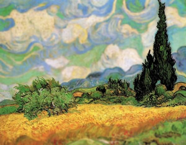 Vincent Van Gogh Wheatfield with Cypresses