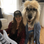 Woman and Her Irish Wolfhound Dress Like Wayne's World Characters for Halloween