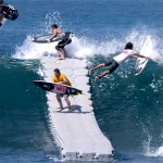 A Floating Dock in the Middle of an Ocean Surf Break Making It Easier for Surfers to Catch Waves