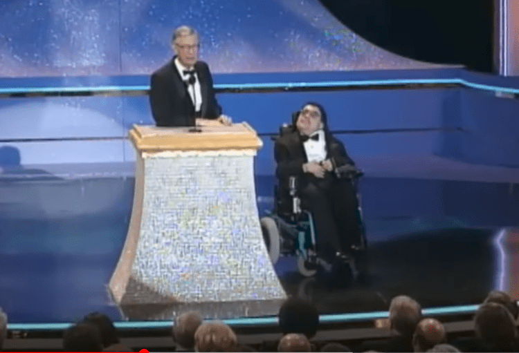 wheelchair man folding chair walmart in 1999 mister rogers reunited onstage with who was on a 1981 episode as child