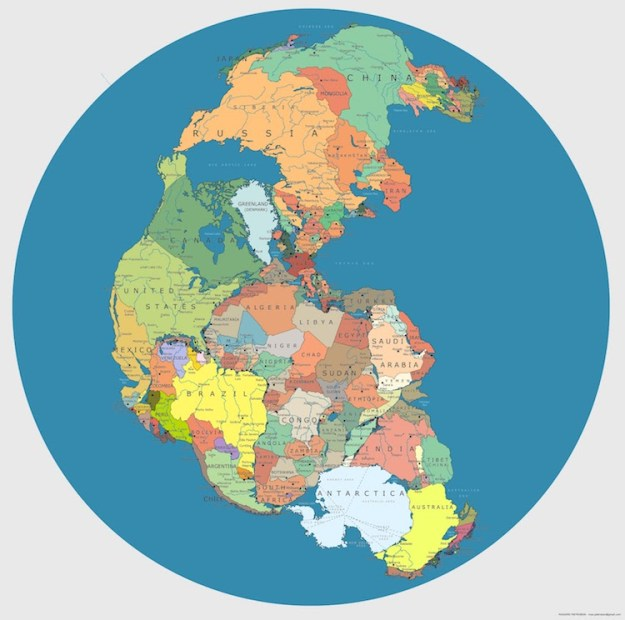 pangea_politik-1 A Brilliant Map of the Supercontinent Pangaea With the Country Borders of Modern Age Random