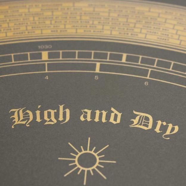 high-and-dry A Beautiful Metallic Screen Print That Incorporates Songs About Weather Inside a Golden Barometer Random
