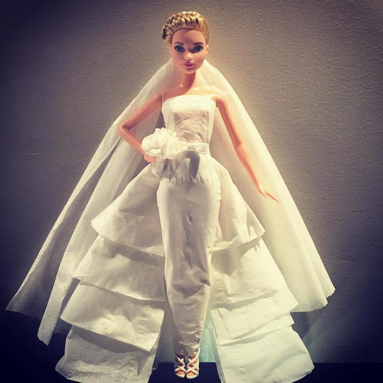 barbie-tissue-wedding-dress Gorgeous Barbie Doll Wedding Dresses Made From Toilet Paper, Tissues and Other Paper Products Random