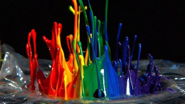 rainbow-paint-on-a-speaker A Colorful Rainbow of Paint Bouncing on a Speaker in Super Slow Motion Random