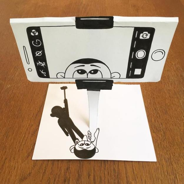 HuskMitNavn-Selfie-Season Brilliant 3D Drawings That Jump Right Off the Page With Creative Paper Folding, Tearing and Stacking Random