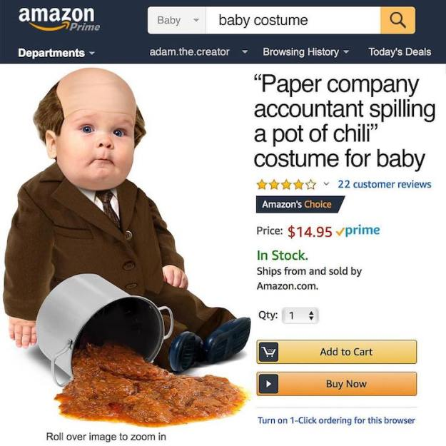 Kevin-Spills-Chili-Halloween-Baby-Costume Paper Company Accountant Spilling a Pot of Chili Baby Costume Based on Kevin's Sad Scene From The Office Random