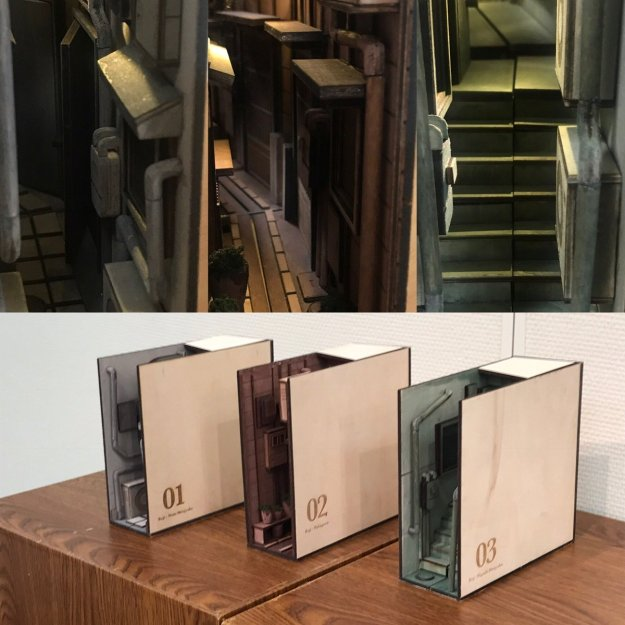 Alley-Bookshelf-Inserts Handcrafted Wooden Bookshelf Inserts Depicting 3D Dioramic Urban Back Alley Scenes With Working Lights Random