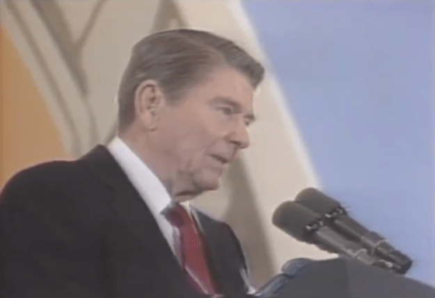 Ronald-Reagan-Missed-Me Ronald Reagan Quips 'Missed Me' in West Berlin Speech When a Popped Balloon Sounds Like Gunfire Random