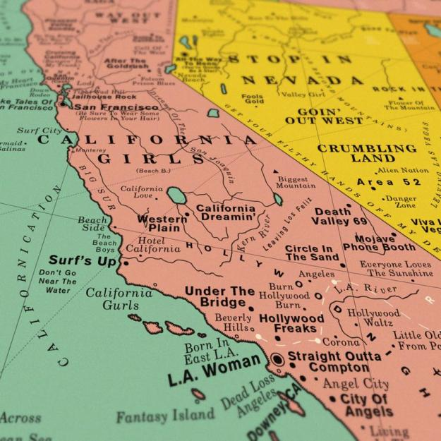 USA-California-Song-Map A Vintage Style Art Print That Imagines the Map of the Entire United States Made Up Over 1,000 Song Titles Random