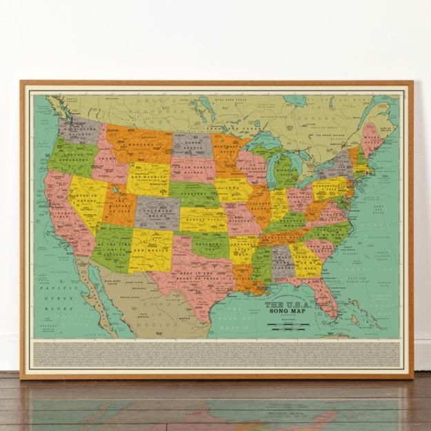 USA-Song-Map A Vintage Style Art Print That Imagines the Map of the Entire United States Made Up Over 1,000 Song Titles Random