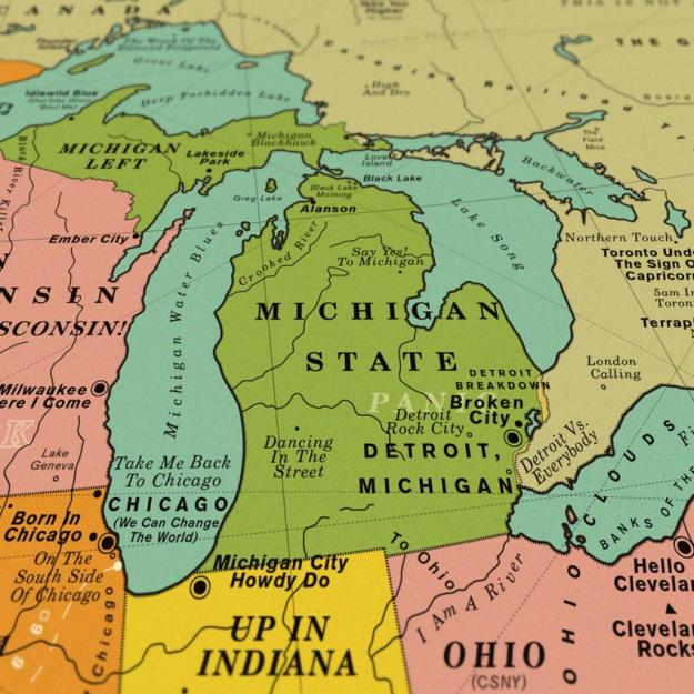 USA-song-map-Michigan A Vintage Style Art Print That Imagines the Map of the Entire United States Made Up Over 1,000 Song Titles Random