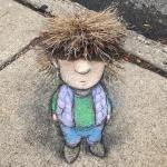 Adorable 3D Sidewalk Chalk Characters That Cleverly Incorporate Surface Cracks, Flaws and Interruptions