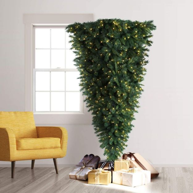 Upside-Down-Trimmed-Tree-With-Gifts A Space Saving Upside Down Christmas Tree Random