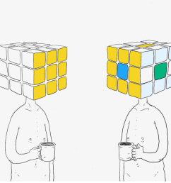 a man with a rubik s cube head faces rejection from others when his tiles don t match theirs [ 1280 x 728 Pixel ]