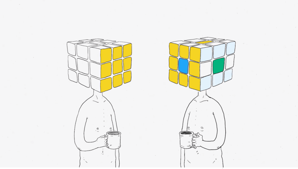 medium resolution of a man with a rubik s cube head faces rejection from others when his tiles don t match theirs