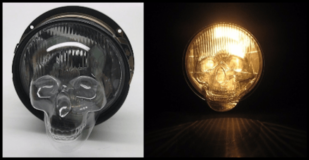 Skull Headlight Cover Lights On and Off
