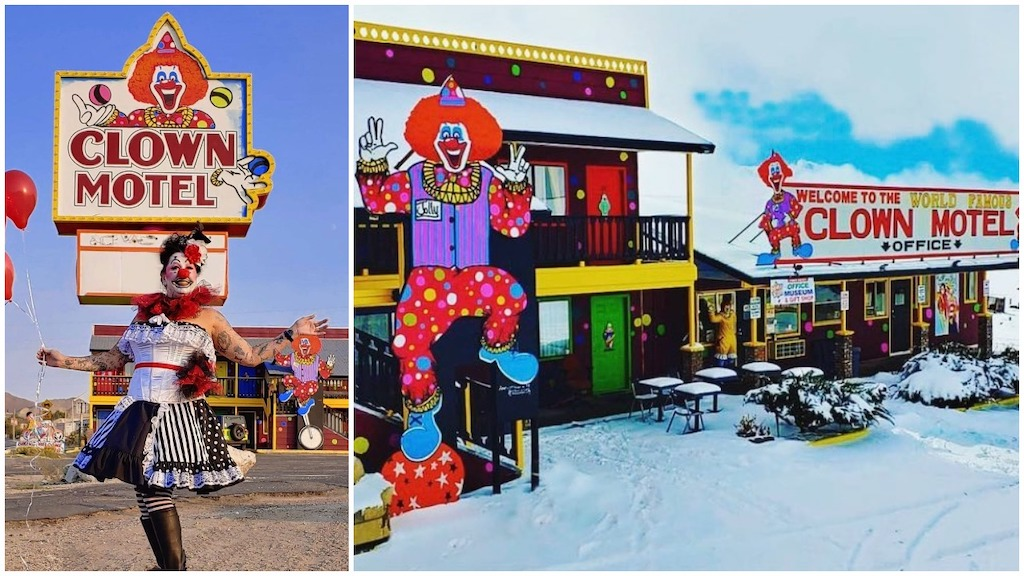 A Creepy Clown Hotel That's Located Right Next to a Ghostly Mining Cemetery in Tonopah, Nevada