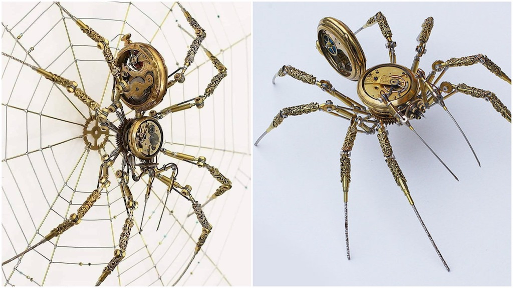 Intricate Steampunk Spiders Made From Old Watches