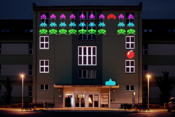 8 Bit Invader Video Game Projection Mapping on a Building