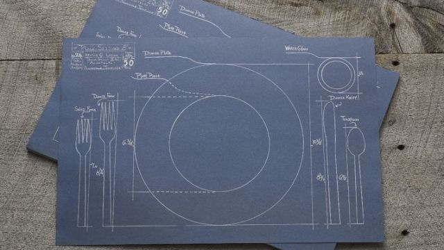 Placemats featuring engineering blueprints for different foods blueprint placemats malvernweather Choice Image