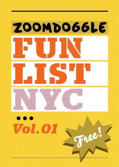 The front page of the Zoomdoggle Fun List NYC Vol. 01