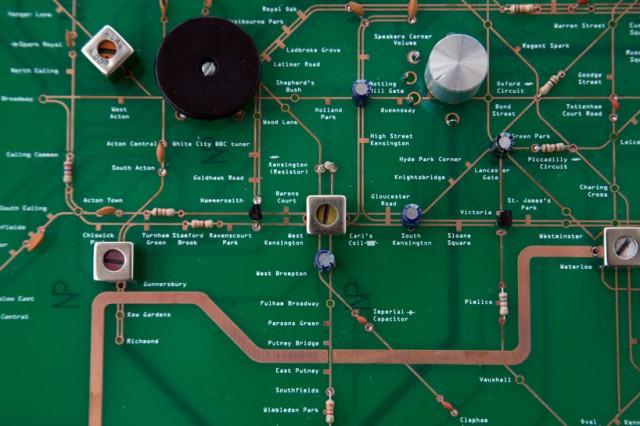 London Underground circuit board map by Yuri Suzuki