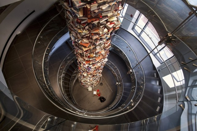 Tower Made of 15,000 Books About Abraham Lincoln
