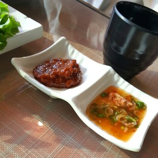 The Ssam-jang(left) and salted shrimp.