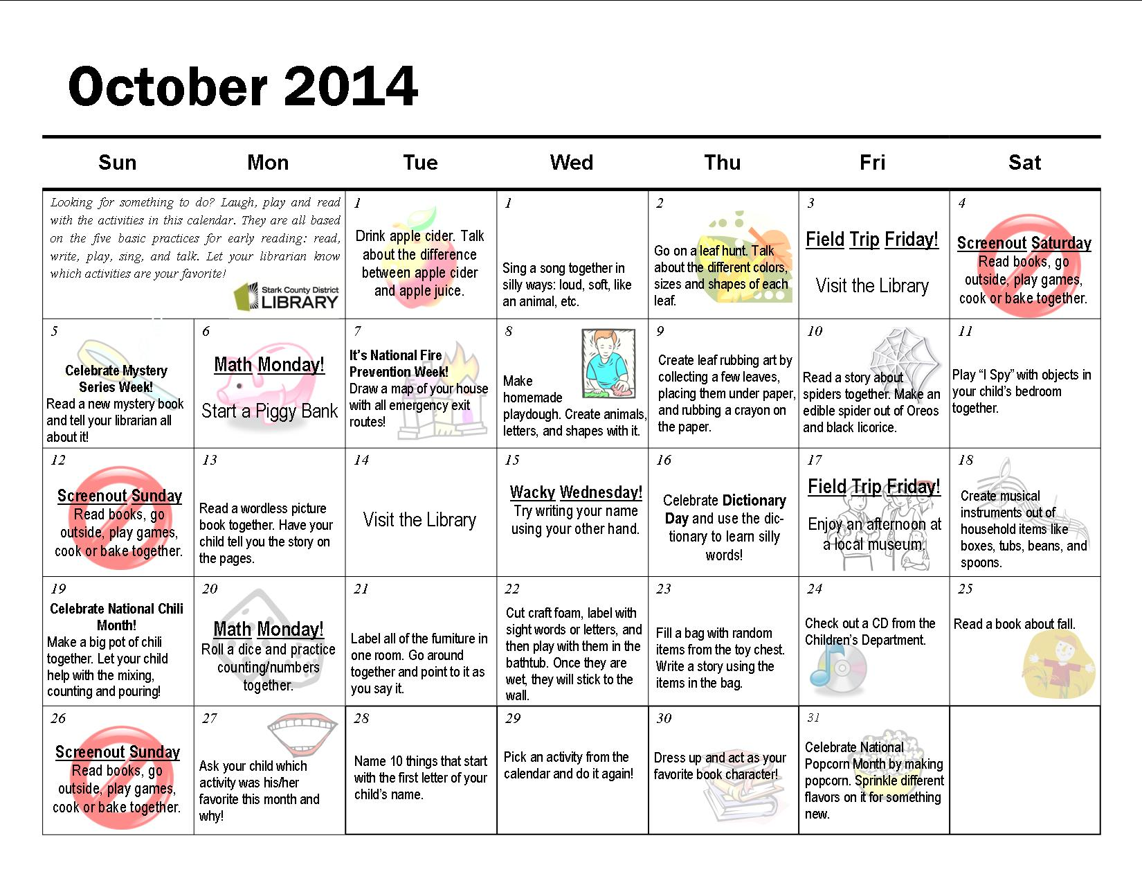 October Monthly Activity Calendar
