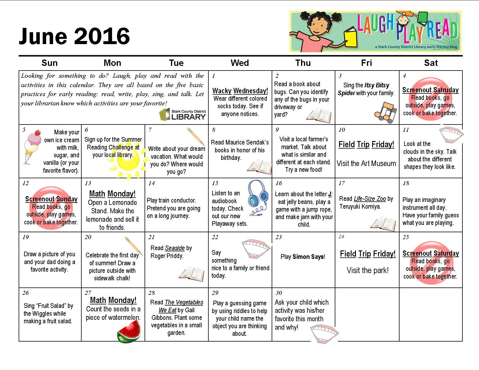 June Monthly Activity Calendar