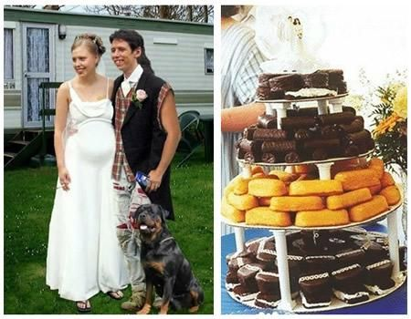 Redneck wedding picture, the groom in cut off sleeves, the catering twinkies, hohos and hostess cupcakes.