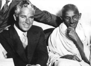 Charlie Chaplin with Gandhi