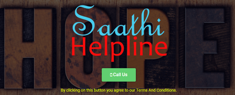 Saathi Helpline Webpage Screenshot
