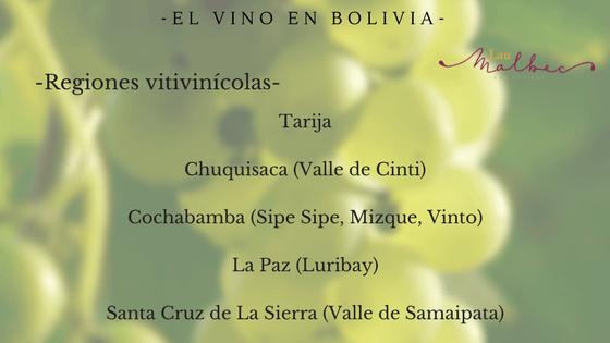 regiones vitivinicolas de  bolivia