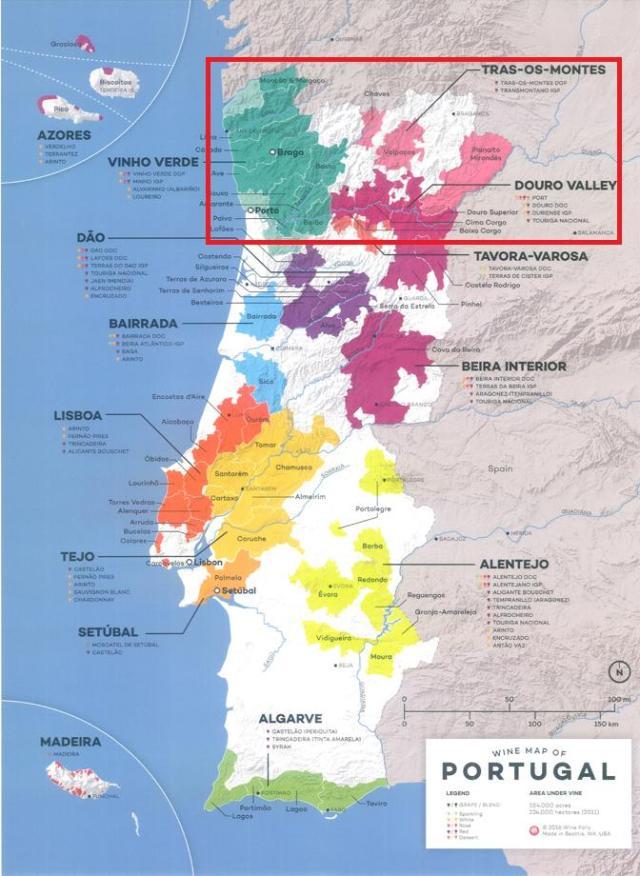 Mapa Regiones Vitivinícolas de Portugal Vinos de Oporto