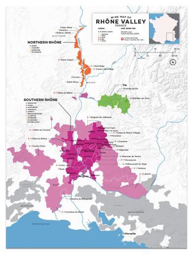 Mapa vitivinícola de Côtes-du-Rhône