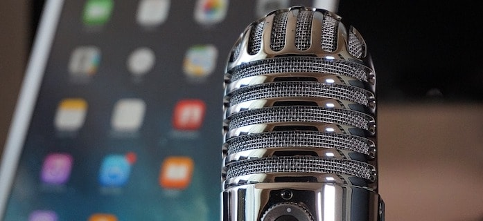 Starting a Podcast microphone and iPad