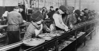 Factory workers hard at work in the early 1900's