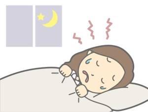 寝汗をかいてる女性