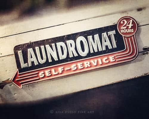 Retro Laundry Room Art Print Vintage Laundromat Sign