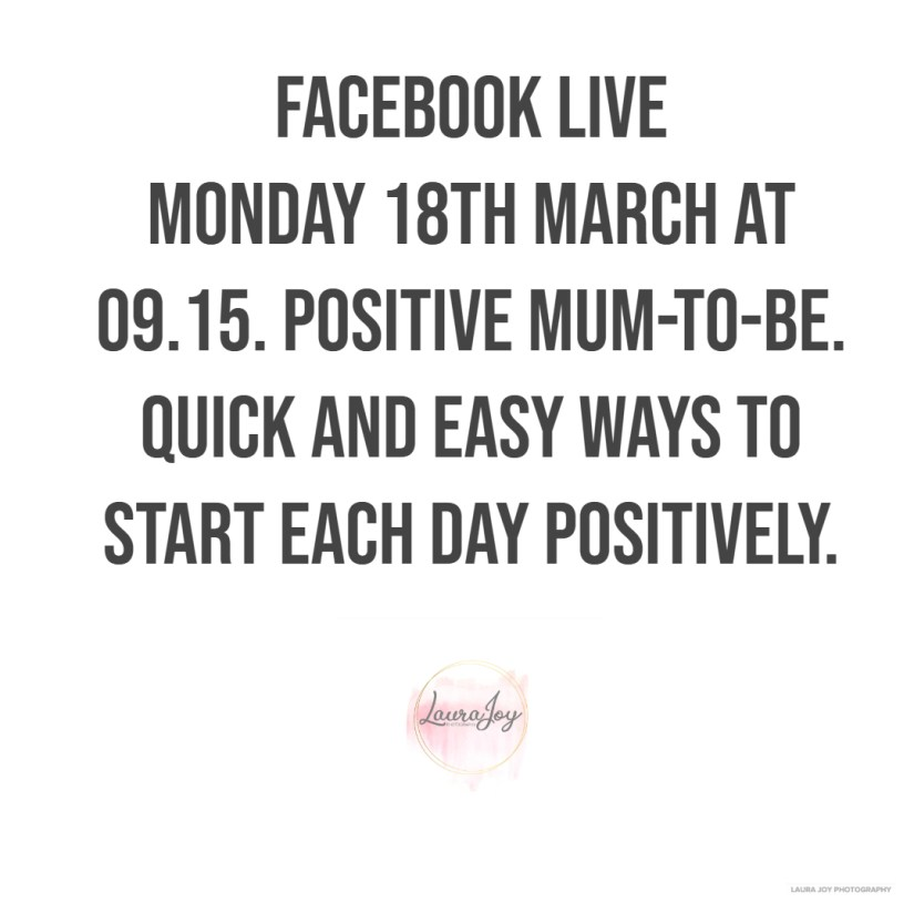White background with information about Facebook live. Laura Joy Photography logo.
