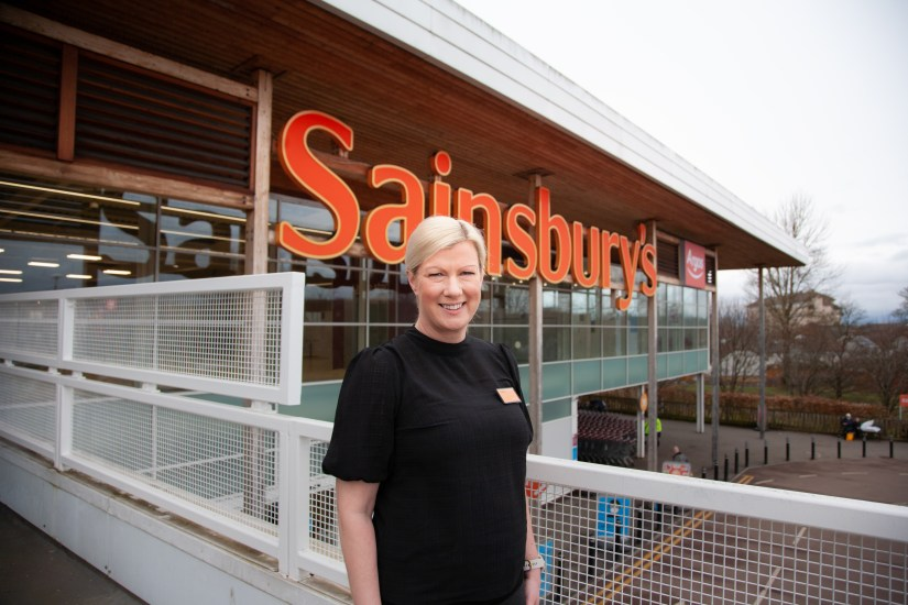Store Manager at Sainsbury's Darnley outside store