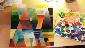 """ Post Modern Triangles "" , 12 X 12 , acrylic on wood panel , $200"