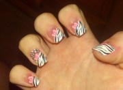 baby shower inspired zebra nail