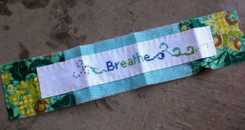 Breathe, cross-stitched piece by Elizabeth in Vancouver